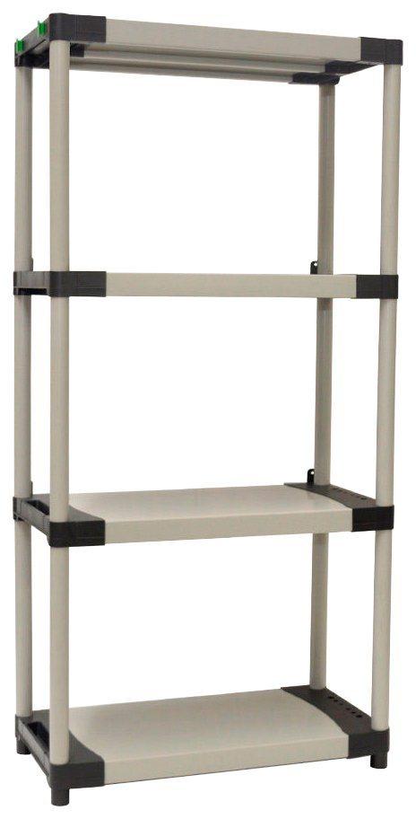 Steckregal »mit vier geschlossenen Böden und hoher Tragkraft «, in grau /schwarz in grau/schwarz