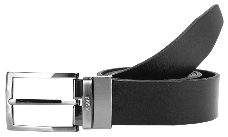 Bugatti Herren Leder Wendegürtel in schwarz