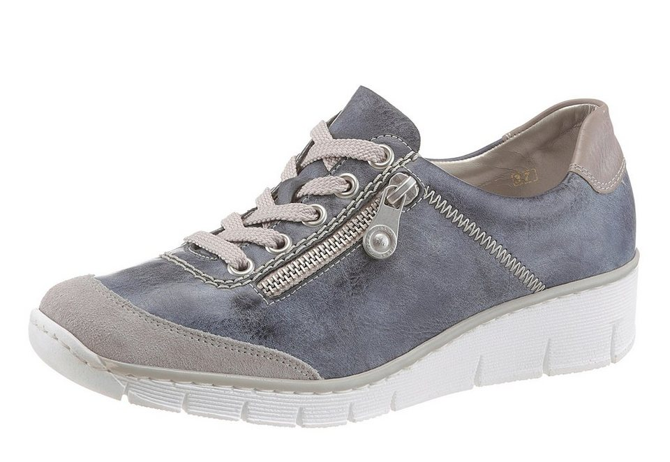 Rieker Wedgesneaker in blau-grau