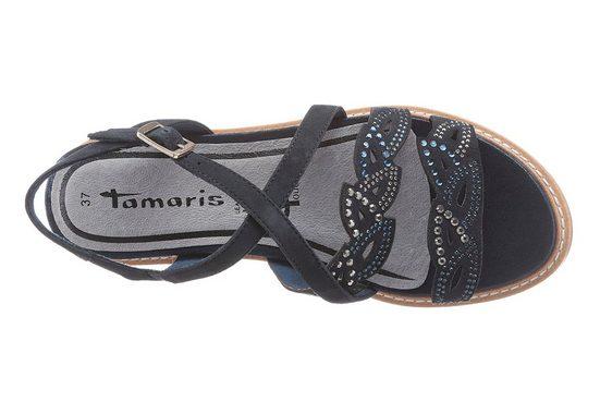Tamaris Riemchensandale, mit Keilabsatz