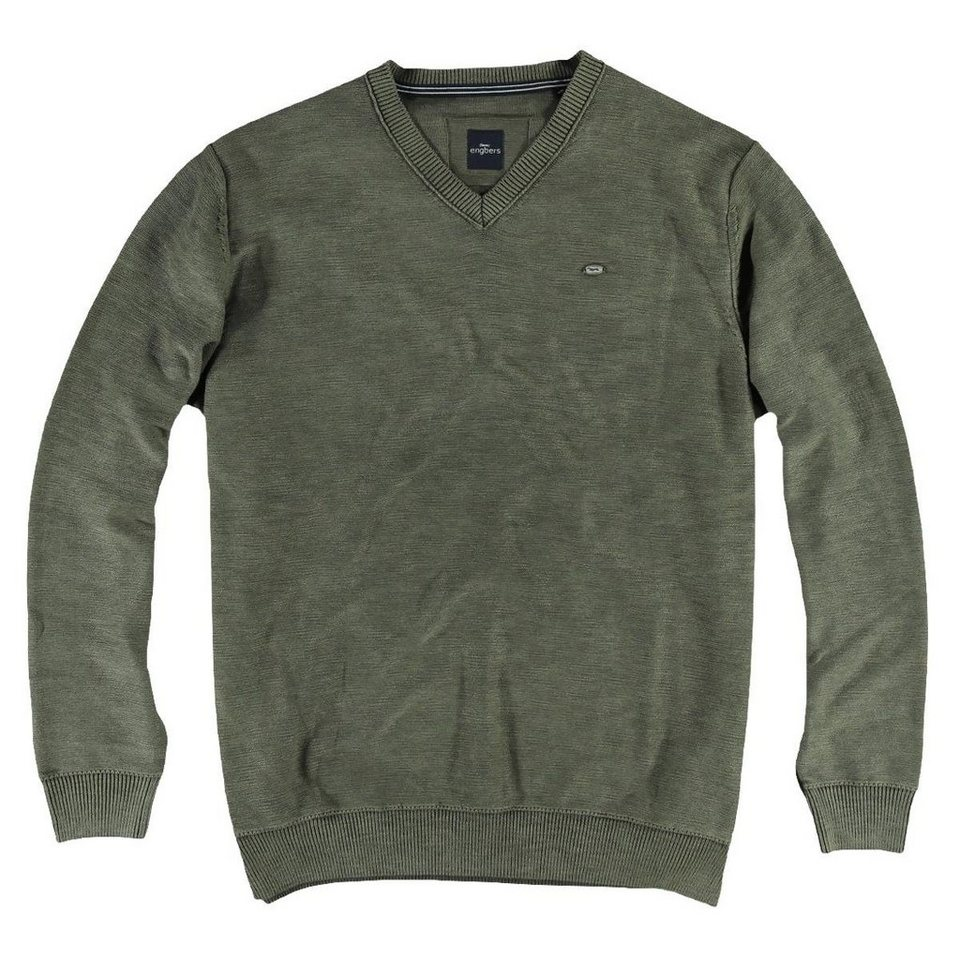 engbers Pullover V-Ausschnitt in Khakigrün