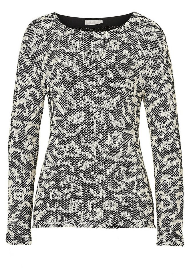 Betty&Co Strickpullover in Black-Nature - Bunt