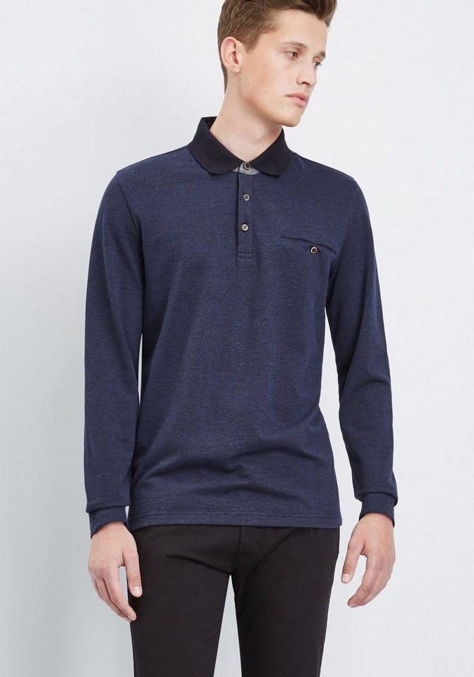 PIERRE CARDIN Poloshirt mit Jacquard-Struktur in dunkelblau