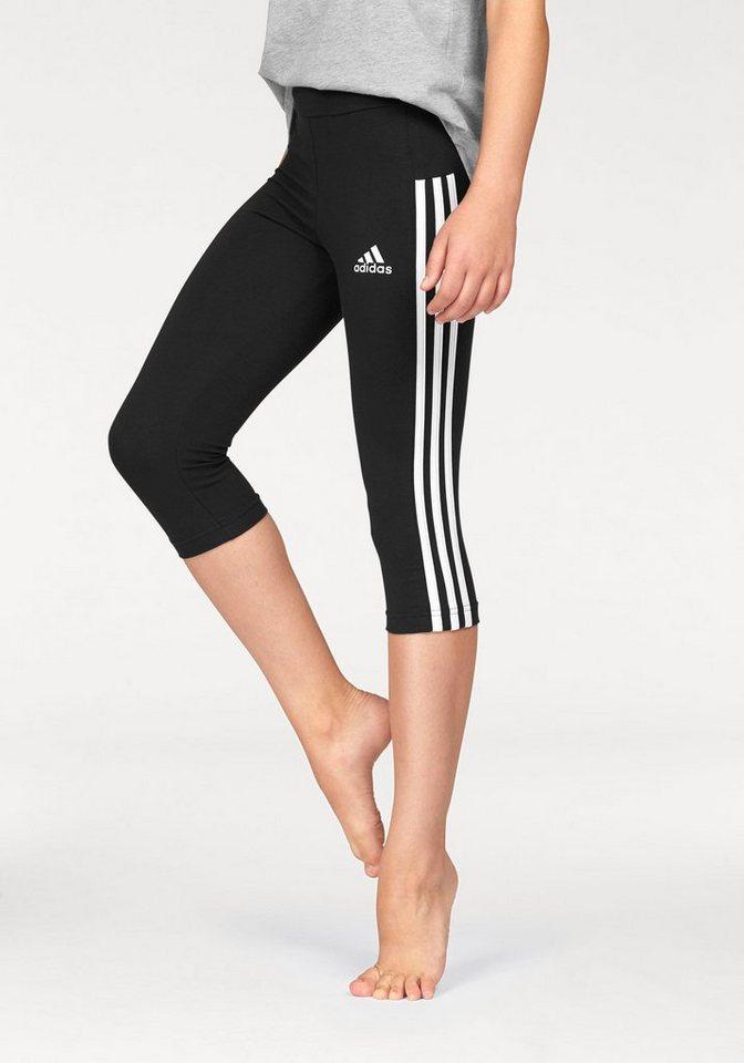 adidas Performance 3/4-Hose »ESSENTIALS 3 STRIPES 3/4 TIGHT« in schwarz-weiß