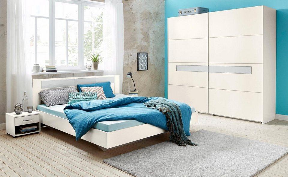 Wimex Schlafzimmer-Set mit Schwebetürenschrank (4-tlg.) in weiß/Weißglas