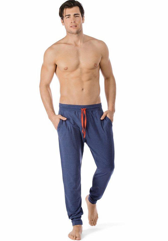 Skiny lange Schlafhose unifarben in blau meliert