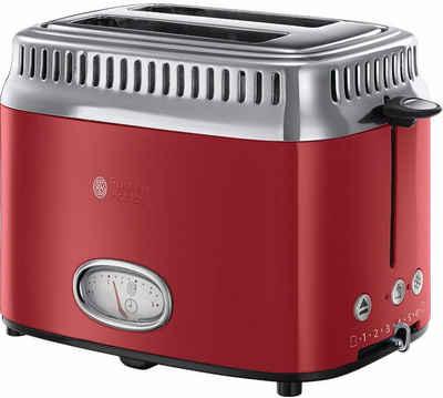 RUSSELL HOBBS Toaster 21680-56, 2 kurze Schlitze, 1300 W, Retro Ribbon Red