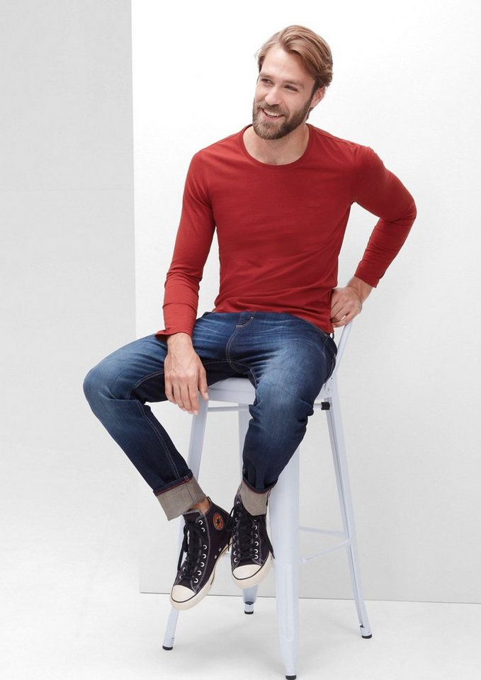 s.Oliver RED LABEL Schmales Jersey-Longsleeve in passion red
