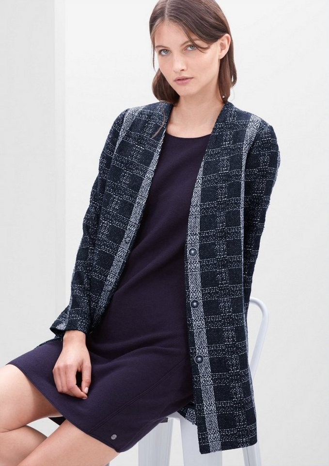 s.Oliver RED LABEL Bouclé-Mantel mit Karomuster in midnight blue check
