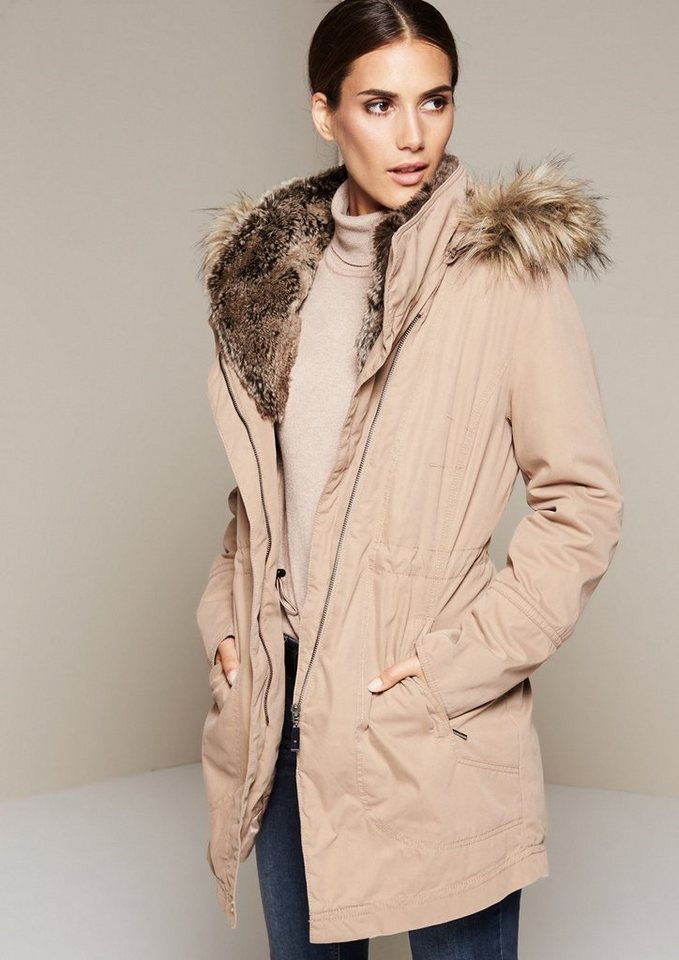 COMMA Warmer Winterparka mit abnehmbarer Kapuze in camel
