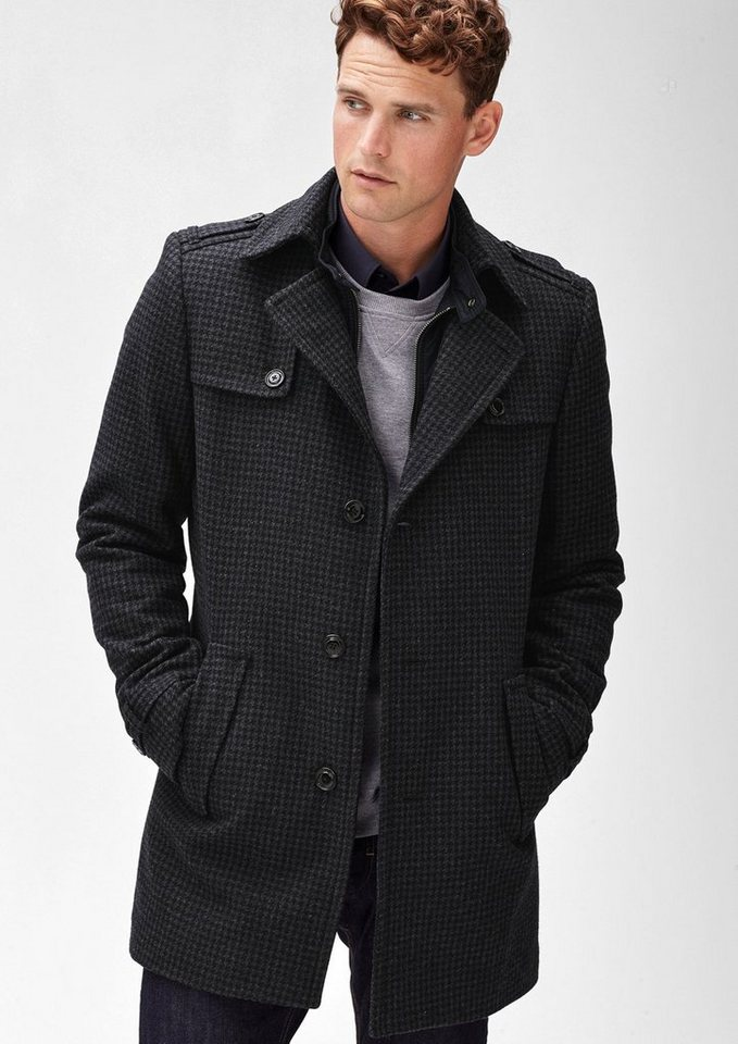s.Oliver BLACK LABEL Slim: Dog´s Tooth Wollmantel in blue check
