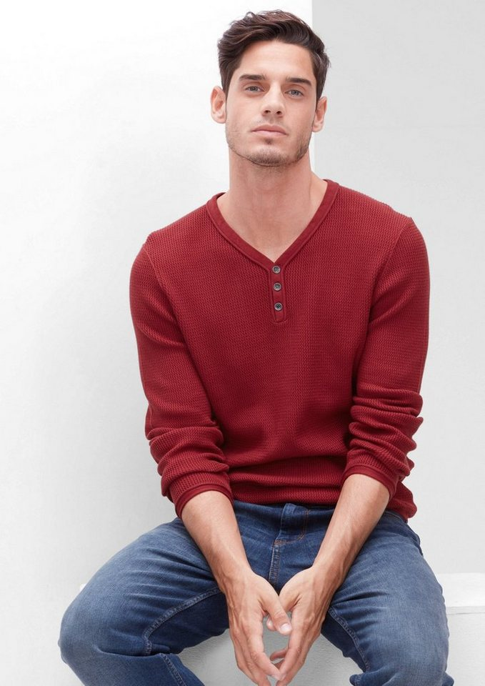 s.Oliver RED LABEL Pullover aus Strukturstrick in passion red