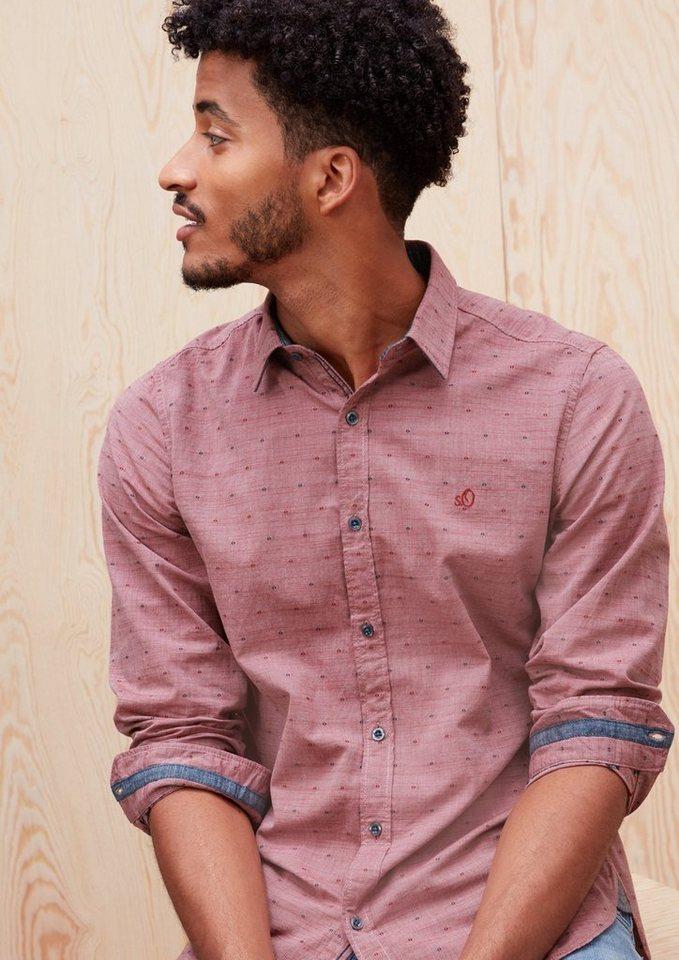 s.Oliver RED LABEL Slim: Musterhemd mit Denim-Details in passion red