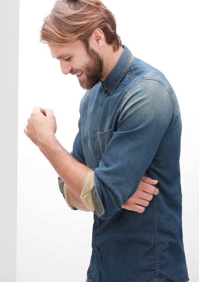 s.Oliver RED LABEL Slim: Hemd in Jeans-Optik in deep sea denim stret