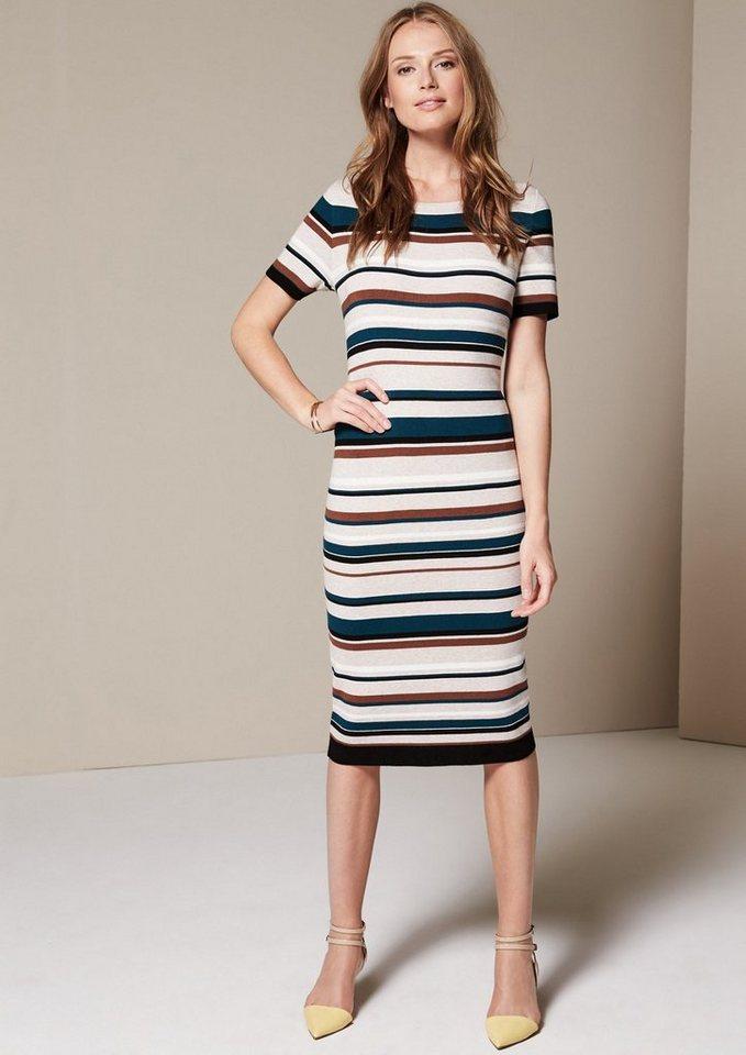 COMMA Raffiniertes Kurzarmkleid mit Streifenmuster in multicolor stripes