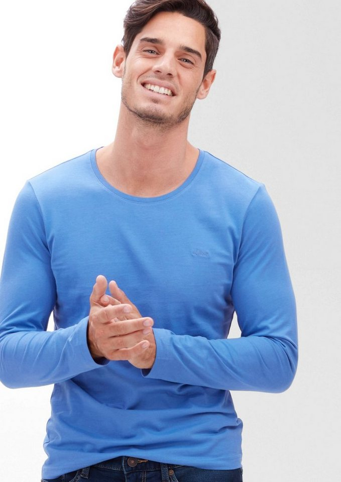 s.Oliver RED LABEL Schmales Jersey-Longsleeve in strato blue
