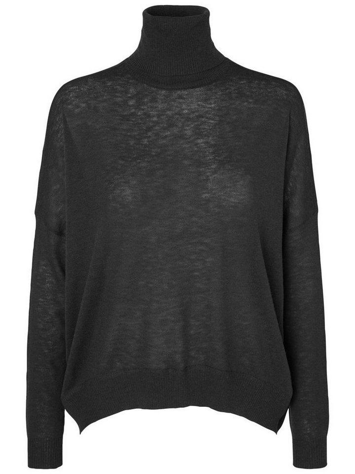 Vero Moda Gestrickter Pullover in Dark Grey Melange