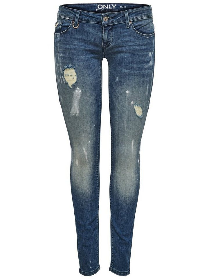 Only Coral superlow paint Skinny Fit Jeans in Dark Blue Denim