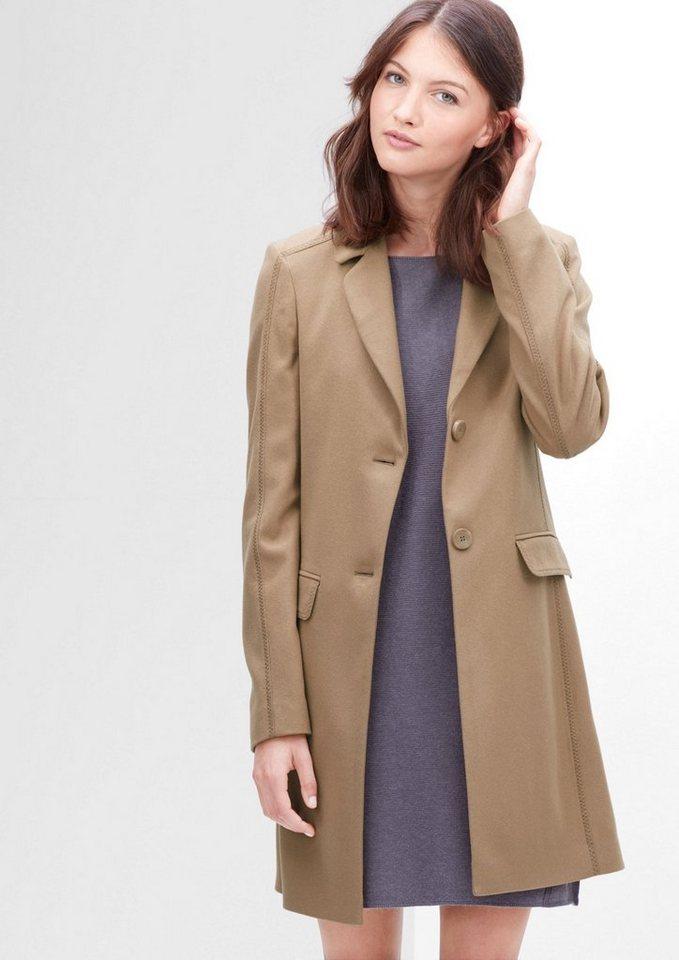s.Oliver RED LABEL Eleganter Mantel aus Schurwoll-Mix in leather beige