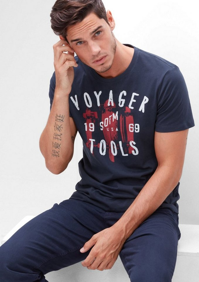 s.Oliver RED LABEL T-Shirt mit Frontprint in deep sea