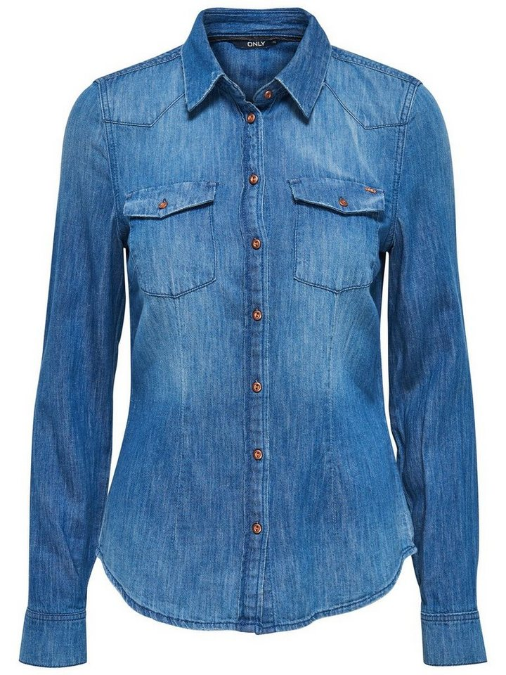 Only Langärmeliges Jeanshemd in Medium Blue Denim