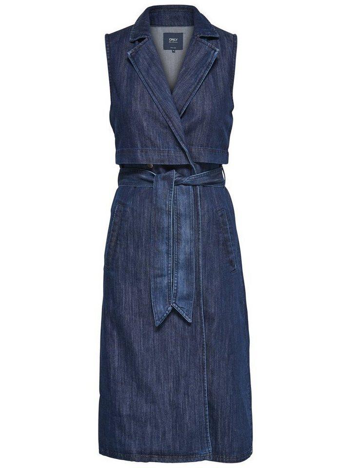 Only Lange Jeans- Weste in Dark Blue Denim