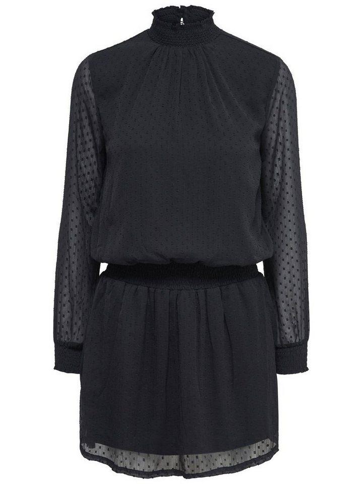 Only Stehkragen- Kleid mit langen Ärmeln in Black