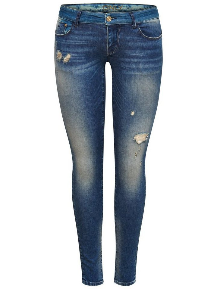 Only Coral superlow toned Skinny Fit Jeans in Medium Blue Denim