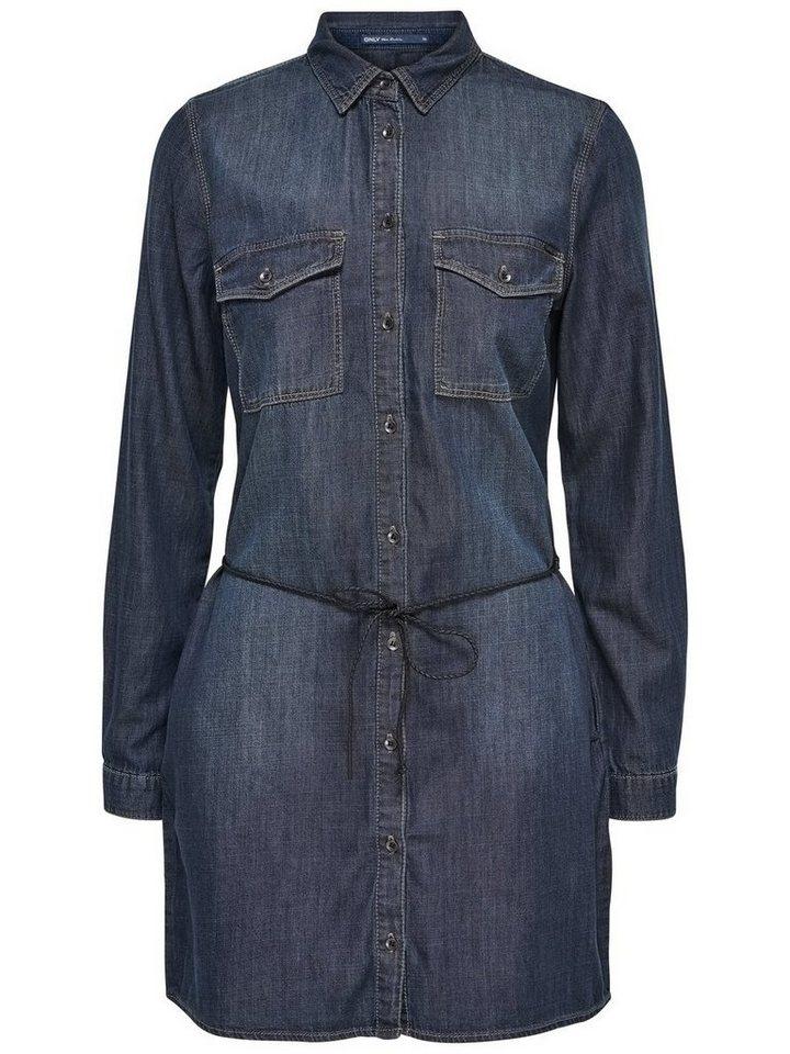 Only Langärmeliges Jeanskleid in Dark Blue Denim
