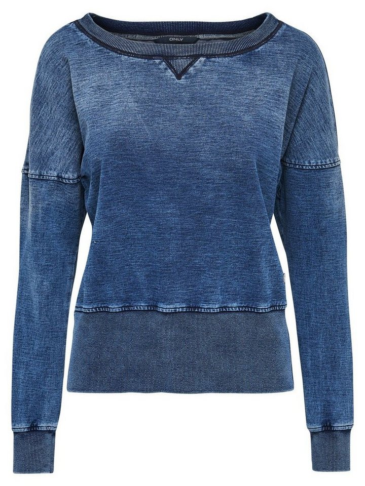 Only Detailliertes Sweatshirt in Medium Blue Denim