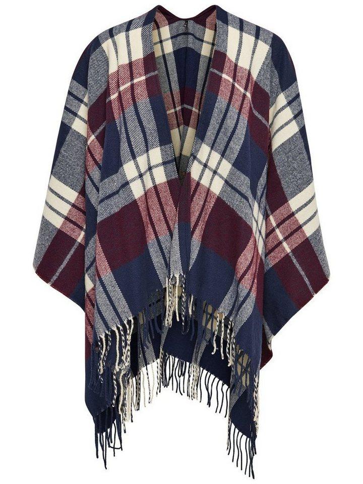 Only Karierter Poncho in Night Sky
