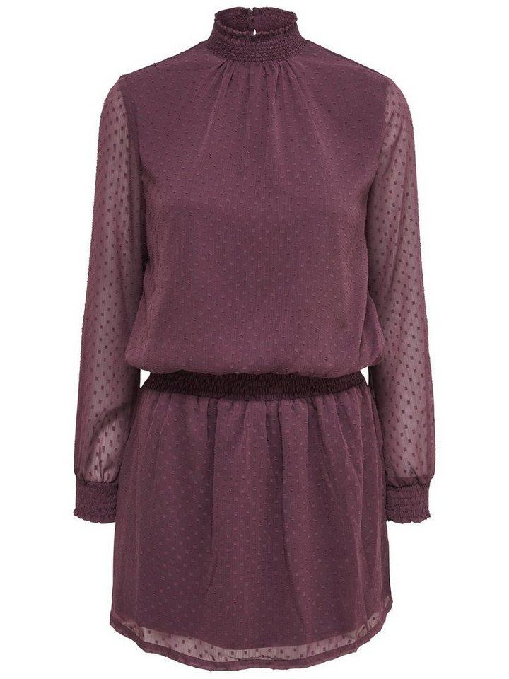 Only Stehkragen- Kleid mit langen Ärmeln in Fudge