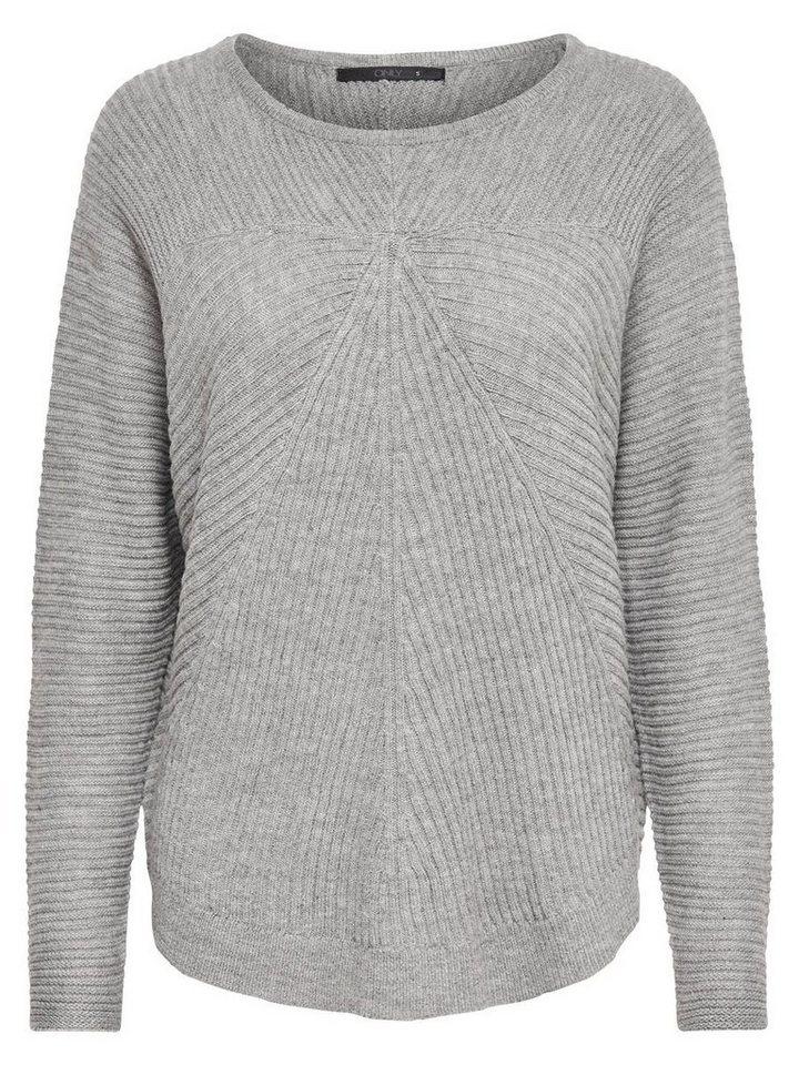 Only Detaillierter Strickpullover in Medium Grey Melange