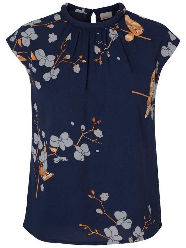 Vero Moda Mit Blumen bedrucktes Oberteil ohne Ärmel in Navy Blazer