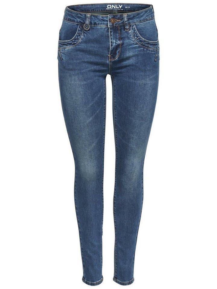Only Iza Reg Studded Skinny Fit Jeans in Medium Blue Denim