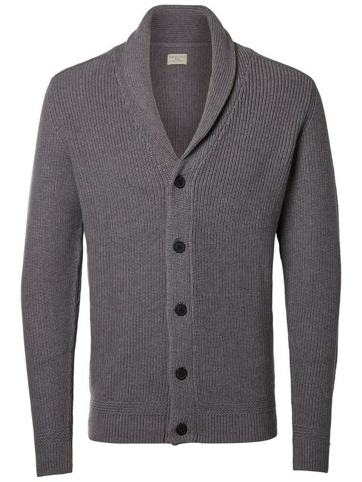 Selected Schalkragen- Strick-Cardigan in Medium Grey Melange