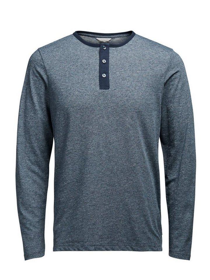 Jack & Jones Grandad T-Shirt mit langen Ärmeln in Navy Blazer