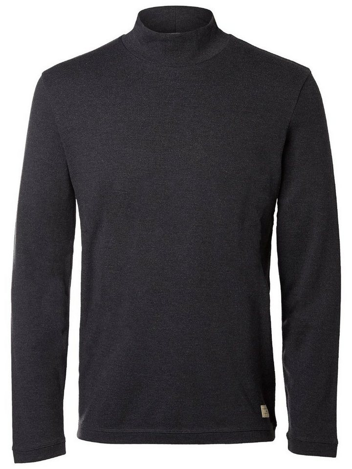 Selected High-Neck T-Shirt in Antracit