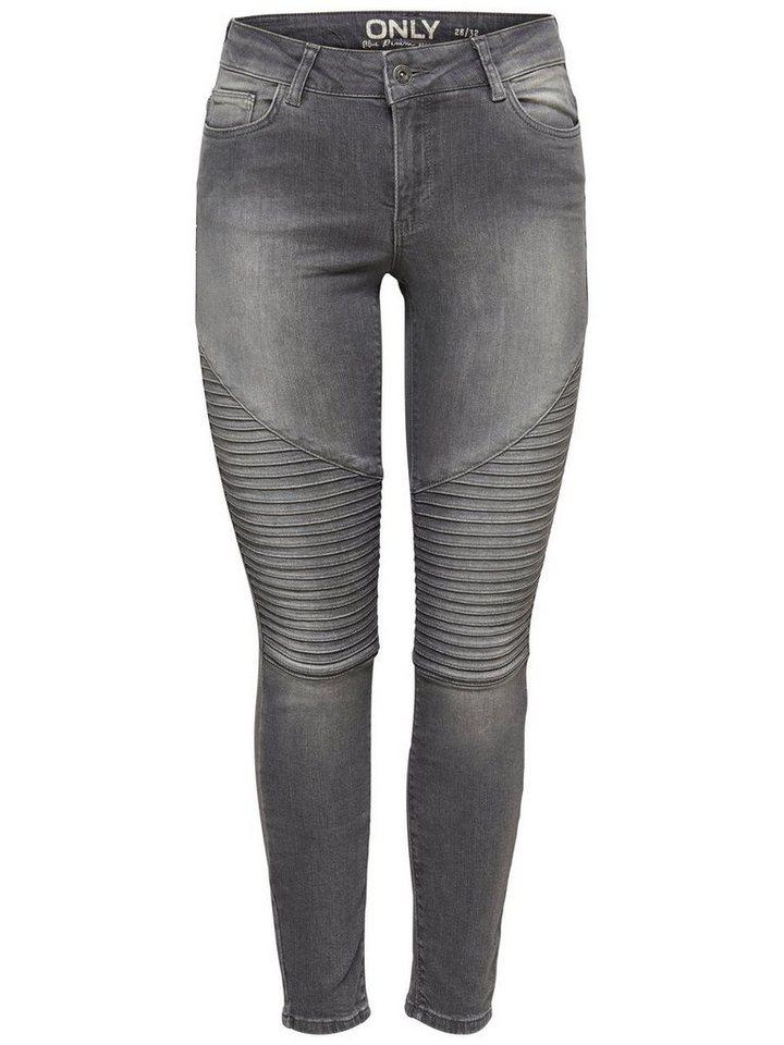 Only Carmen Reg Biker Skinny Fit Jeans in Grey Denim