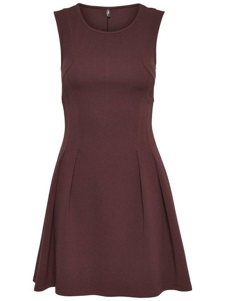 Only Einfarbiges Kleid ohne Ärmel in Fudge