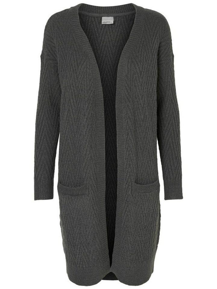 Vero Moda Langer Strick-Cardigan in Dark Grey Melange