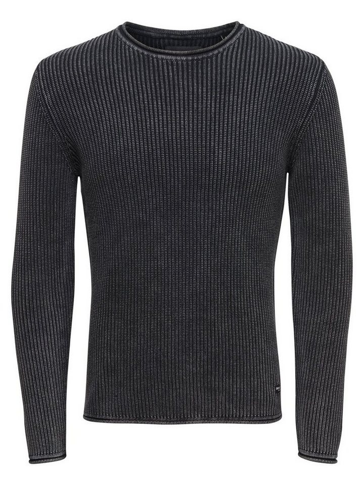 ONLY & SONS Einfarbiger Strickpullover in Black