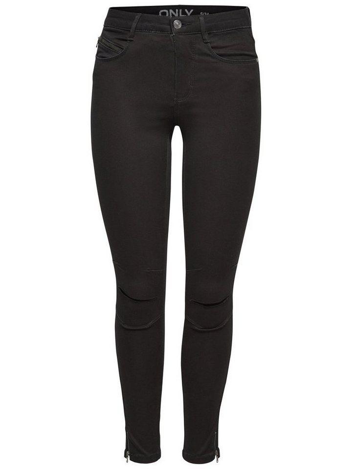 Only Royal kneecut biker ankle Skinny Fit Jeans in Black