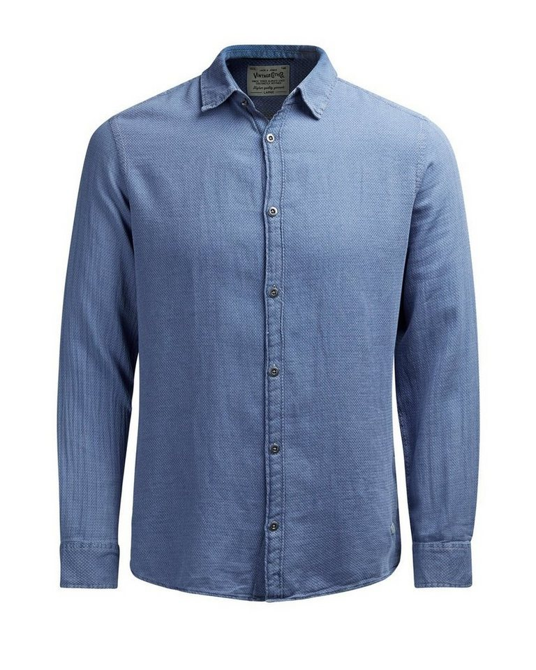 Jack & Jones Mit Indigo gefärbtes Langarmhemd in Provincial Blue