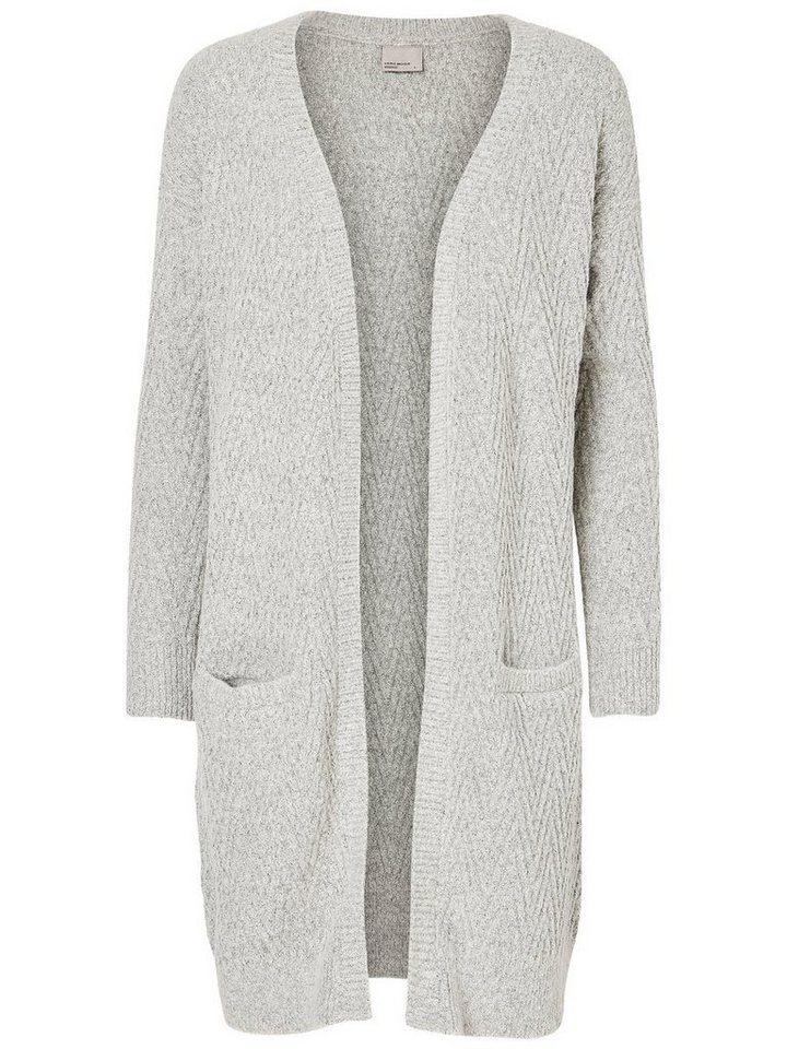 Vero Moda Langer Strick-Cardigan in Light Grey Melange