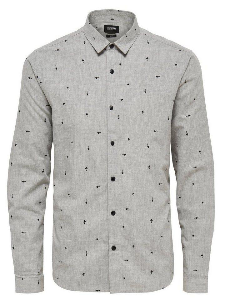ONLY & SONS Bedrucktes Langarmhemd in Light Grey Melange