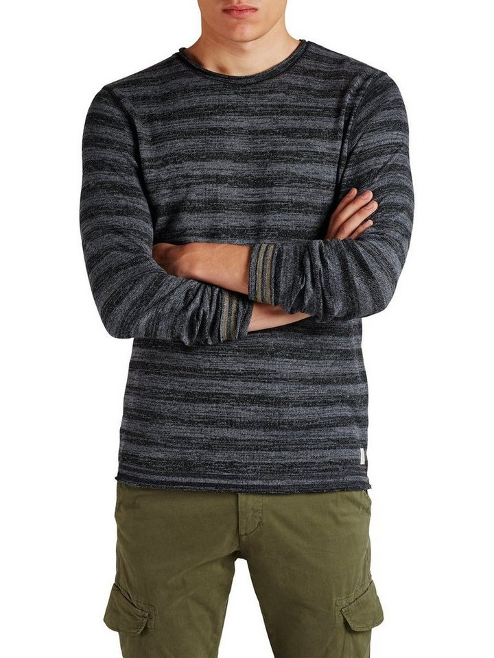 Jack & Jones Streifenmelange- Sweatshirt in Mood Indigo
