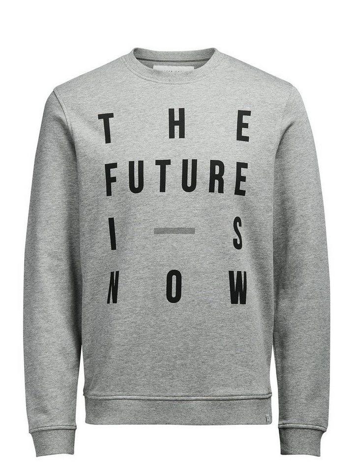 Jack & Jones Grafisch gestaltetes Sweatshirt in Light Grey Melange