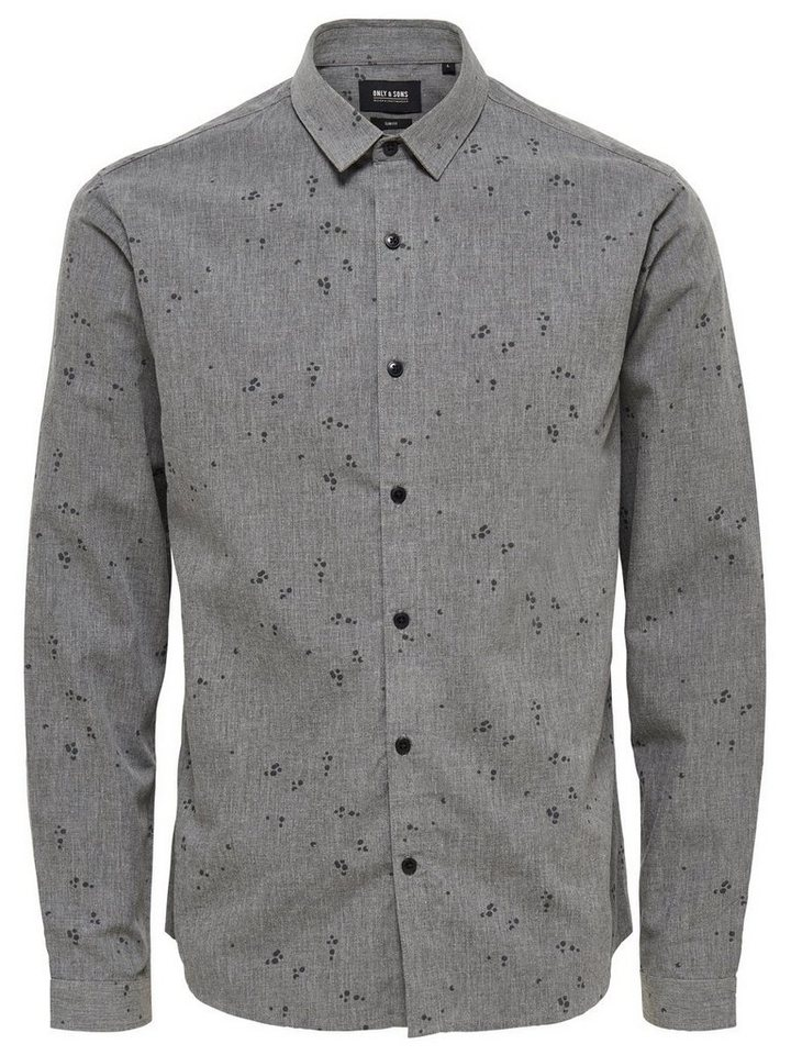 ONLY & SONS Bedrucktes Langarmhemd in Dark Grey Melange