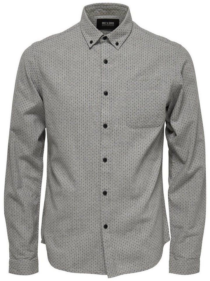 ONLY & SONS Detailliertes Langarmhemd in Light Grey Melange